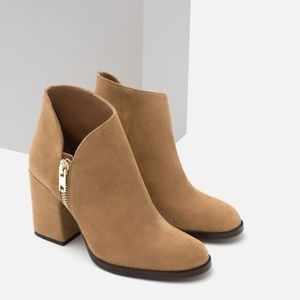 Zara Brown Suede Heeled Zip Ankle Boot Sz 37 US6.5